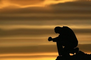 Head bowed in prayer